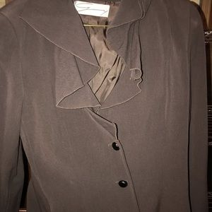 Chocolate Brown Ruffle Neck short Jacket